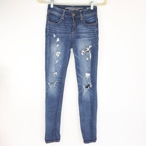 American Eagle Hi Rise Jegging Distressed Ripped